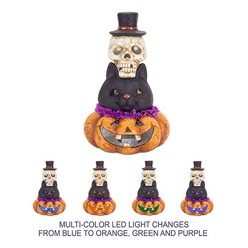 LED Jack-O-Lantern, Cat and Skull with Timer