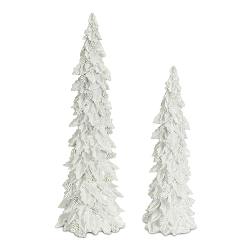 White Holly and Cone Tree, Set of Two
