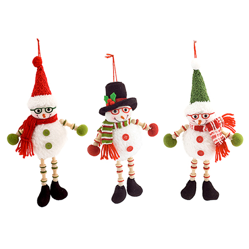 Snowman with Glasses Ornament, Set of 12