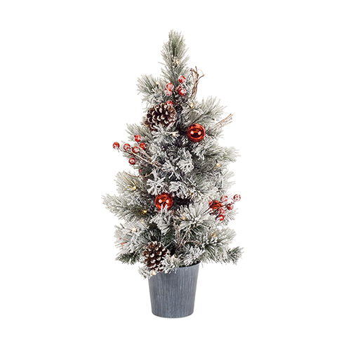 Potted Mini Tree with Lights, Set of Two