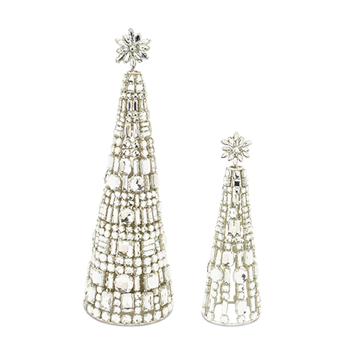 White and Crystal Jewel Tree, Set of Two