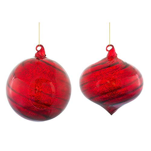 Red Ball and Drop Ornament, Set of Six