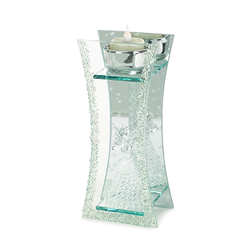 Crystal and Silver Angel 9 In. Votive Holder, Set of Four