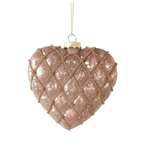 Rose Gold Heart Ornament, Set of 12