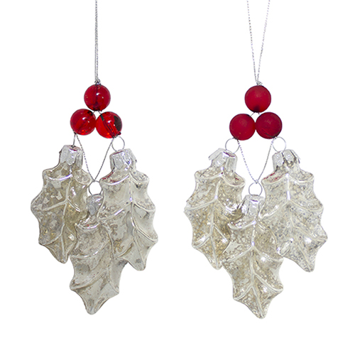 Melrose International Holly and Berry Ornament, Set of 12