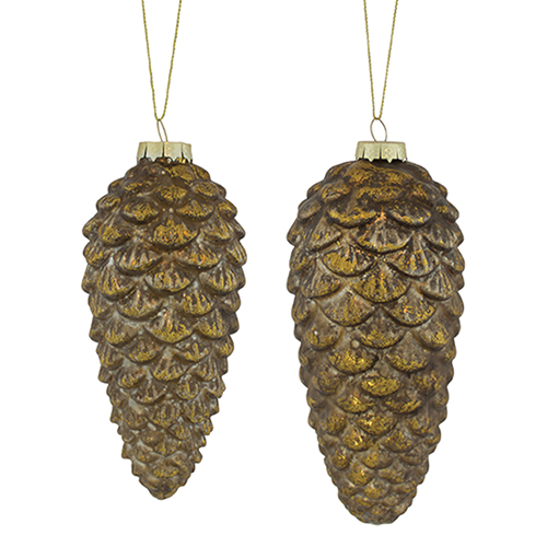 Brown and Gold Pine Cone Ornament, Set of 12