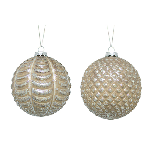 Brown and Silver Ball Ornament, Set of Six