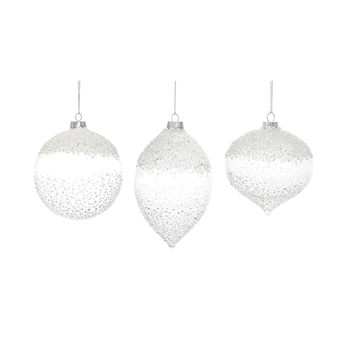 White and Clear Glass Ornament, Set of Six