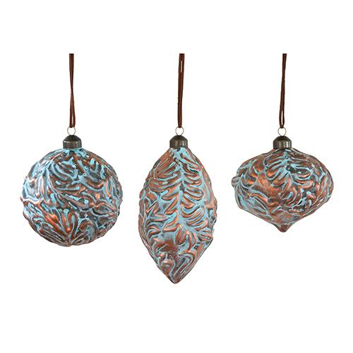 Aqua and Copper Ornament, Set of Six