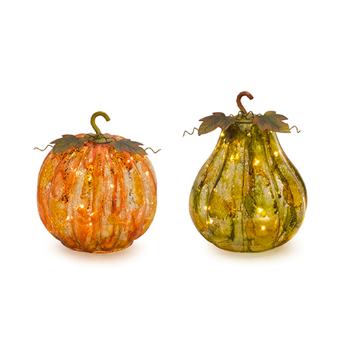 Pumpkin and Gourd with Lights and Timer, Set of Two