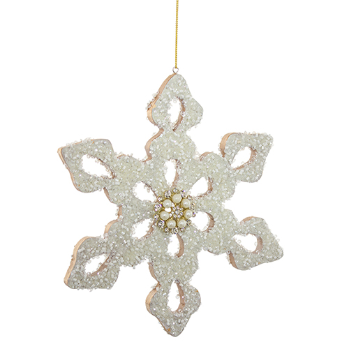 White and Gold Snowflake Ornament, Set of Six
