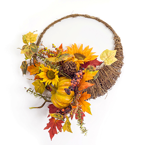 Sunflower and Gourd Cornucopia Wreath