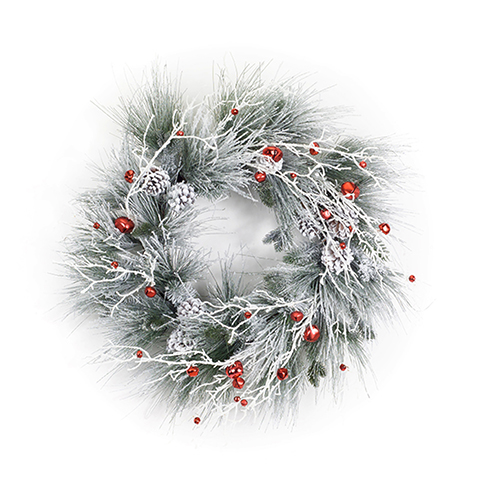 Flocked Pine and Bell 28.5 In. Wreath