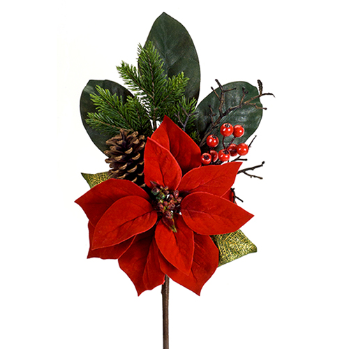 Pine and Red Poinsettia Pick, Set of 12