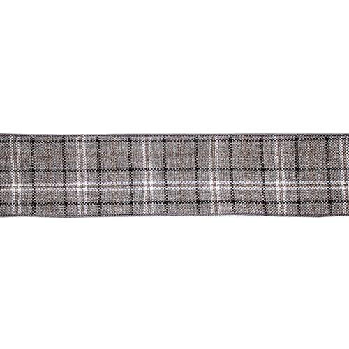 Grey and White Plaid Ribbon, Set of Six Rolls