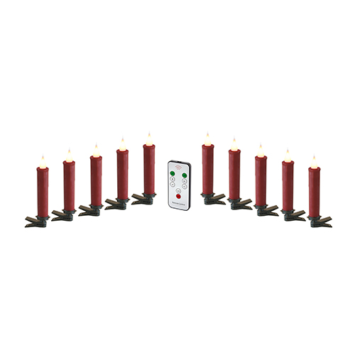 Red Clip-On Candle with Remote, Set of 10