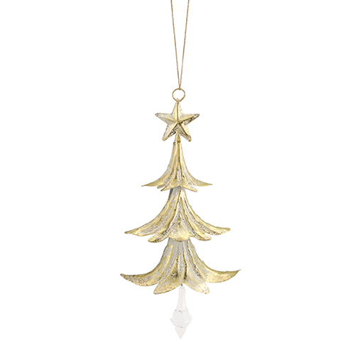 White and Crystal Tree with Drop Ornament, Set of 24