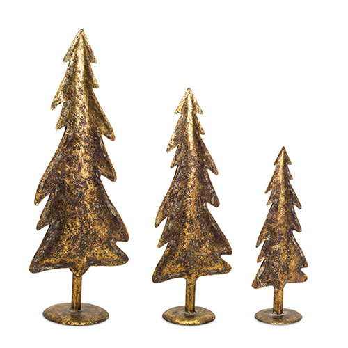 Brown and Gold Tree, Set of Three