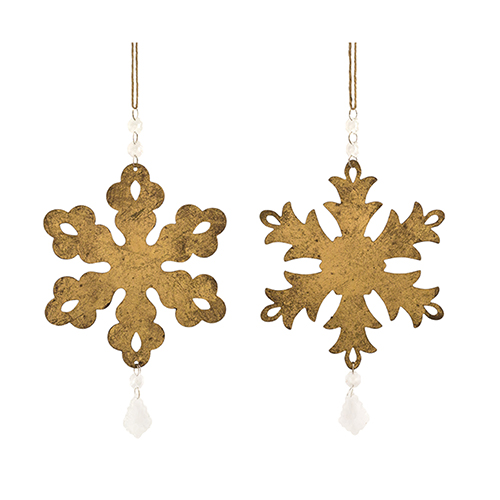 Gold and Crystal Snowflake Ornament, Set of 12