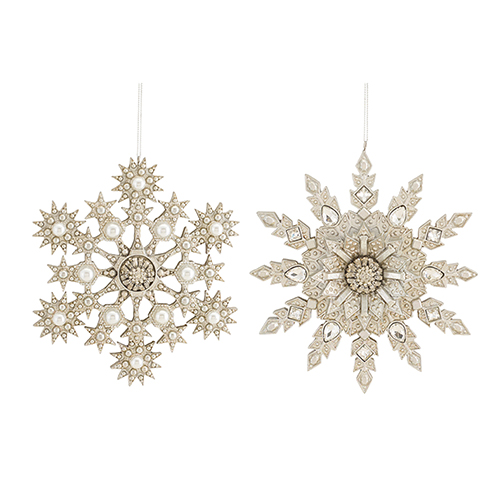 Silver and Pearl Snowflake Ornament, Set of Four