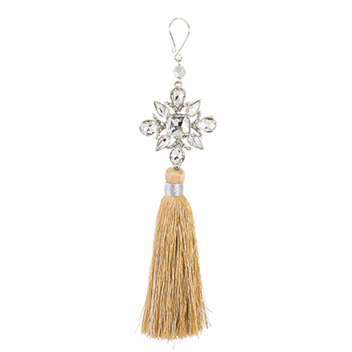 Gold and Silver Snowflake Tassel, Set of 12
