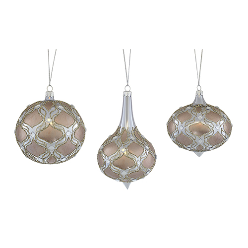 Melrose International Rose Gold And Silver Ornament Set Of Three