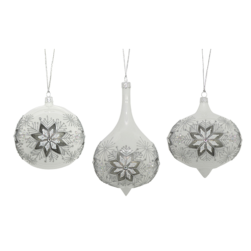 White and Silver Snowflake Ornament, Set of Three
