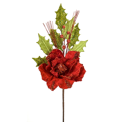 Red and Green Magnolia Pick, Set of 12