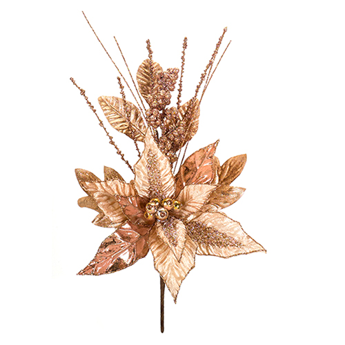 Rose Gold Poinsettia Pick, Set of 12