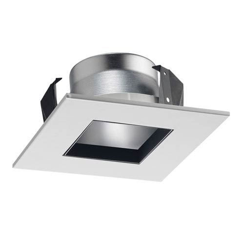 17SQ WWH 4-Inch Square Shower Recessed Trim Frosted Glass with White Trim