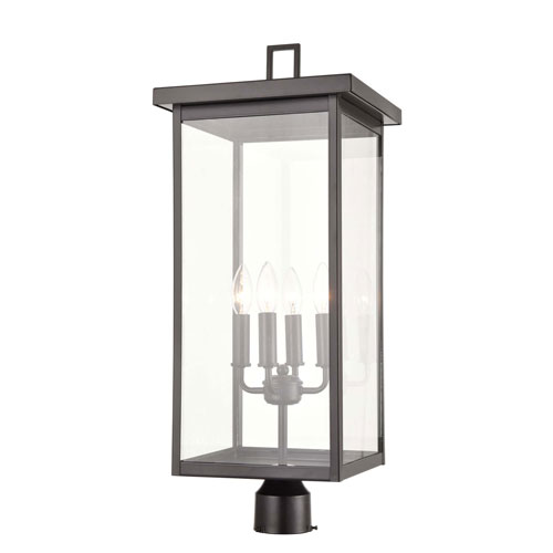 Barkeley Powder Coat Bronze Four-Light Outdoor Post Lantern With Transparent Glass