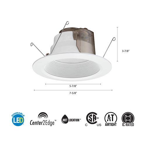 6BPMW HL LED M6 5/6-Inch 12W White High Output LED Recessed Baffle Module 3000K
