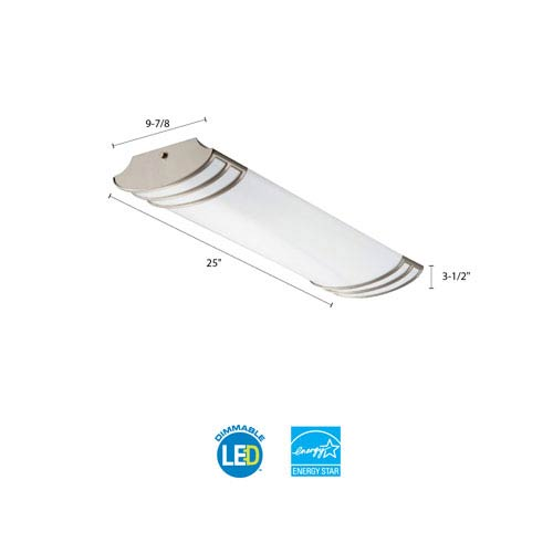 FMLFUTL 24 840 BN 2 Foot Brushed Nickel LED Linear Flush Mount 4000K
