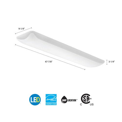 FMLL 9 30840 White LED Rectangle 48x9 Puff Flush Mount 3460 Lumens