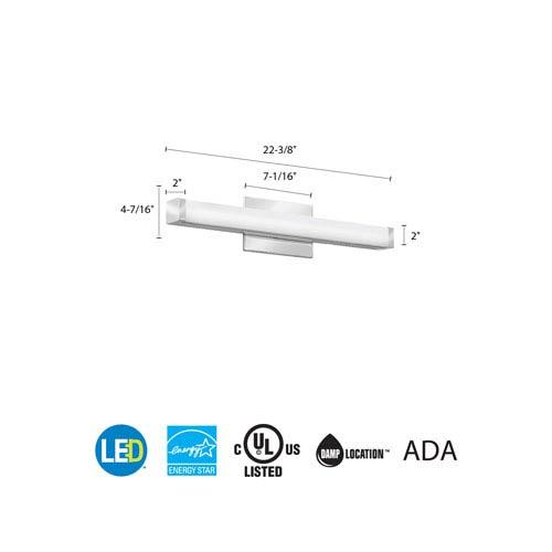 FMVCSL 24IN MVOLT 30K 90CRI KR M6 Contemporary Square 2 Foot Chrome 3K LED Vanity Light