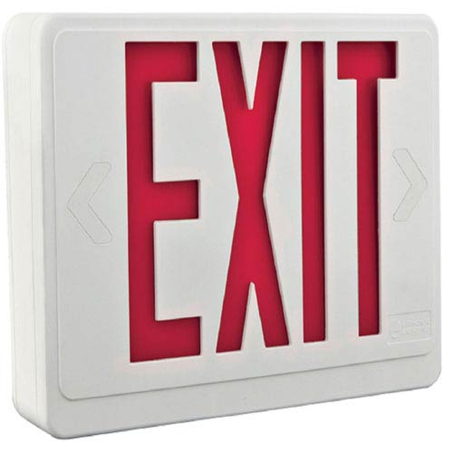 Lithonia Lighting LHQM LED R HO R0 M6 2 Light Plastic LED White Exit Sign/Emergency with Red Stencil High Output Battery