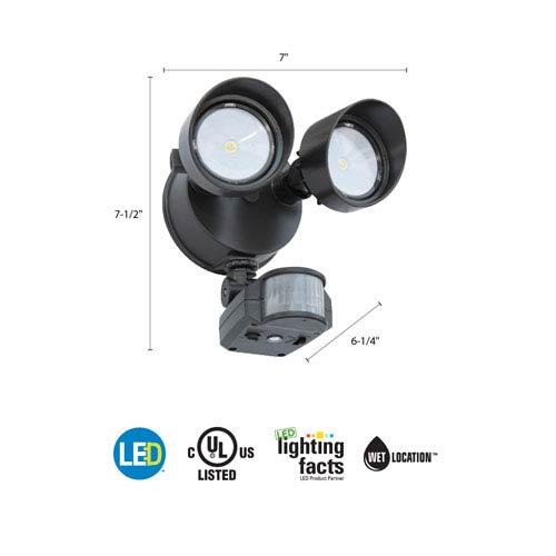 OLF 2RH 40K 120 MO WH M6 2-Head Bronze Outdoor LED Round Flood Light with Motion Sensor
