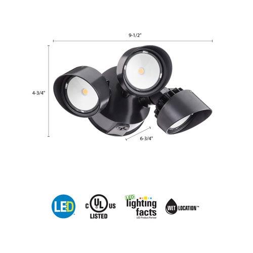 OLF 3RH 40K 120 BZ M4 3-Head Bronze Outdoor LED Round Flood Light