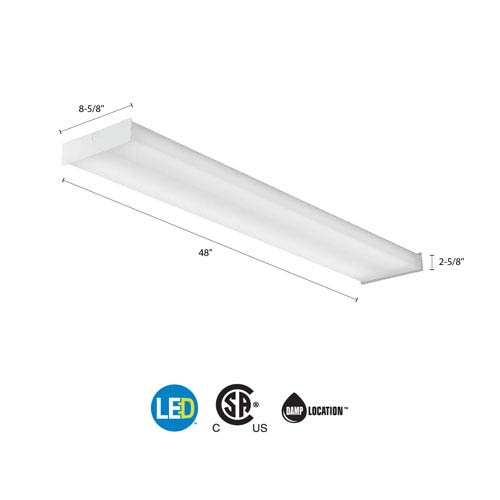 SBL4 LP835 White LED Square Wraparound Ceiling Light 4 Feet 4K Lumens