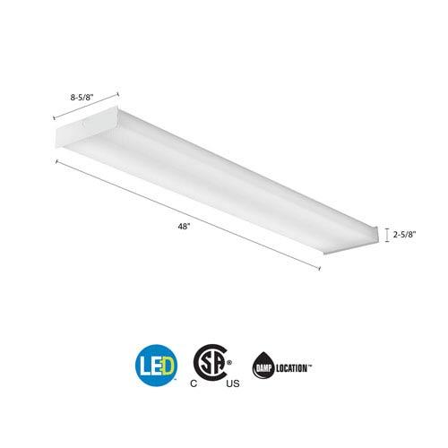SBL4 LP840 White LED Square Wraparound Ceiling Light 4 Feet 4K Lumens