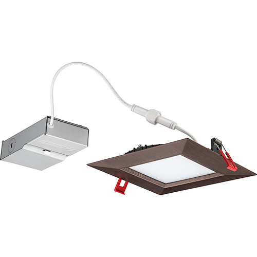 Lithonia Lighting 13.9W LED Ultra Thin 6 Square Baffle Dimmable Recessed Ceiling Light 4000K, Bright White in Bronze