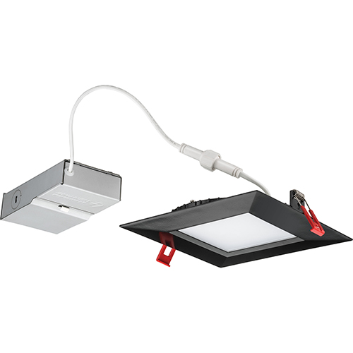 13.9W LED Ultra Thin 6 Smooth Square Dimmable Recessed Ceiling Light 2700K, Warm White in Black