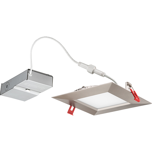 13.4W LED Ultra Thin 6 Smooth Square Dimmable Recessed Ceiling Light 3000K, Bright White in Nickel