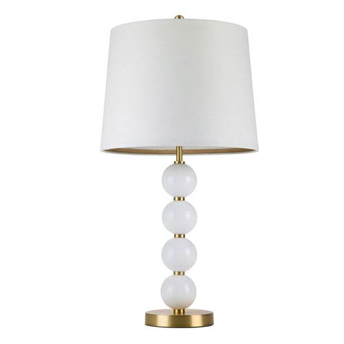 Antique Gold One-Light Table Lamp with Milk Glass