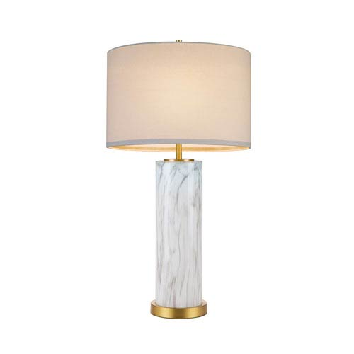 Antique Gold One-Light Table Lamp with Faux Marble Glass