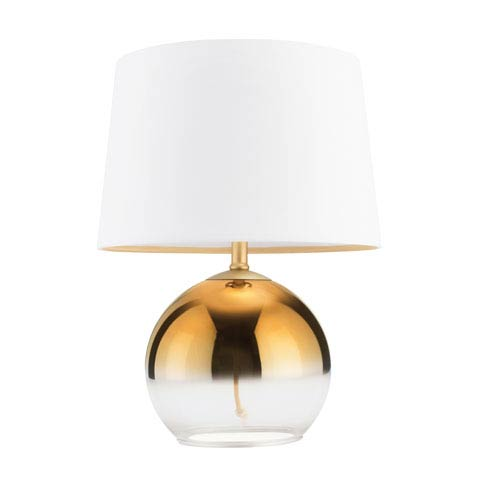 Gold One-Light Table Lamp with Ombre Glass and White Linen Shade