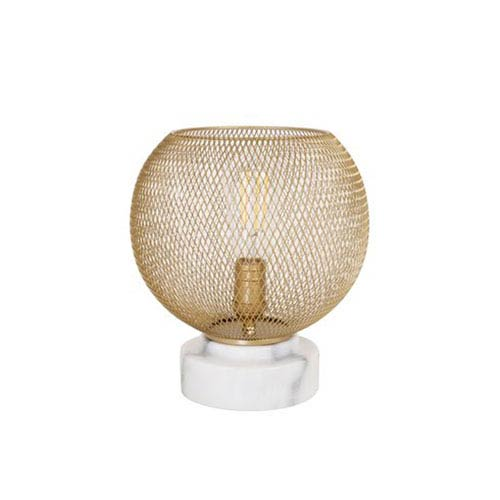 Gold One-Light Table Lamp with Metal Mesh