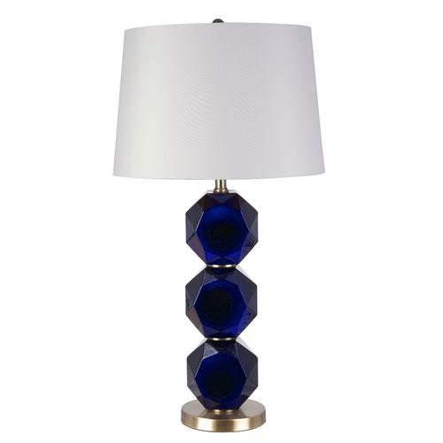 Catalina Lighting Shaye Painted Glossy Navy Blue LED Table Lamp