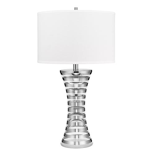 Belizzi Chrome Stripe Glass 33-Inch LED Table Lamp
