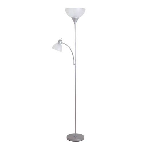 Dual reading light floor lamps bellacor catalina lighting macobey painted silver two light floor lamp aloadofball Gallery